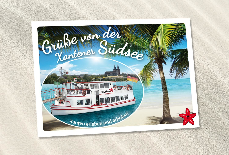 Postkartendesign für Fahrgastschiff Seestern